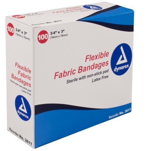 "BANDAIDS FABRIC 3/4""X3"" 100/BX"