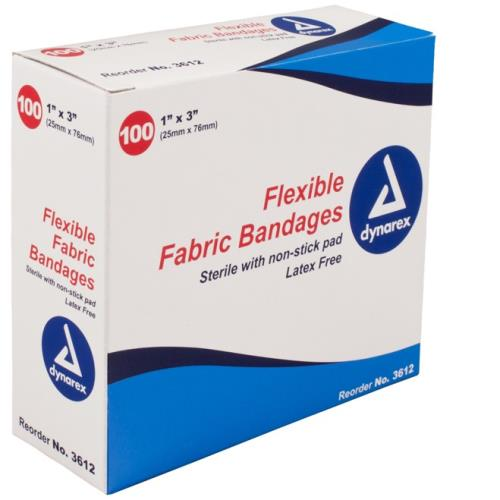 "BANDAIDS FABRIC 1"" X 3"" 100/BX"